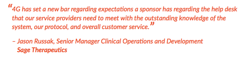 Quote from Sage Therapeutics on 4G Customer Support Excellence